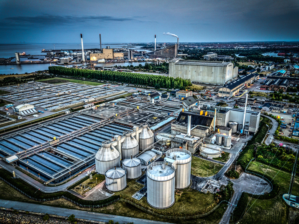 Aerial shot of sewage treatment plant in Copenhagen, Denmark. Aerial view shot with drone as HDR (high dynamic range).